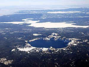 Aerial view of Crater Lake, looking to the sou...