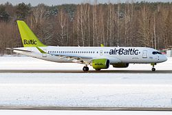 Air Baltic, YL-CSA, Bombardier CS300 (30609837693).jpg