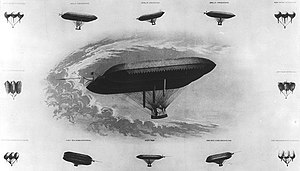 """Solomon Andrews (inventor) - Lithograph of Solomon Andrews's first airship """"Aereon"""""""