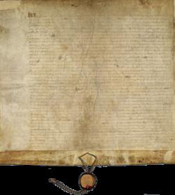 Et firkantet pergamentsstykke med bånd og segle som hænger fra underkanten.