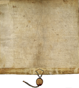 Dongan Charter - The original Dongan Charter partially unfolded