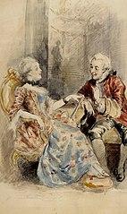 Nainen ja mies keskustelemassa, rokokoopuvut
