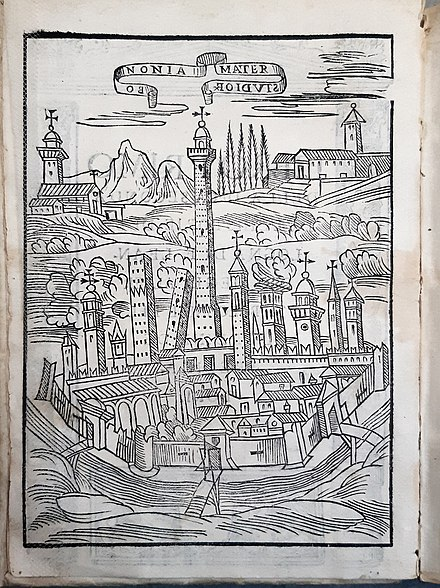Engraving of the city of Bologna from Leandro Alberti's History of Bologna, 1590, showing the two surviving towers and several others Alberti History of Bologna 1590.jpg