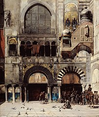 Circassian Cavalry Awaiting their Commanding Officer at the Door of a Byzantine Monument; Memory of the Orient