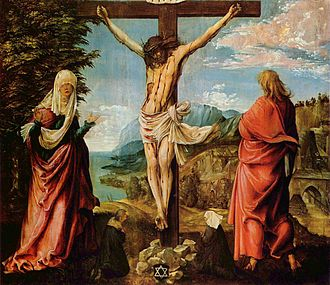 Donor portrait - Crucifixion by Albrecht Altdorfer, c. 1514, with a tiny donor couple among the feet of the main figures.  Altdorfer was one of the last major artists to retain this convention.