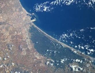Albufera - The Albufera lagoon, in a satellite image.