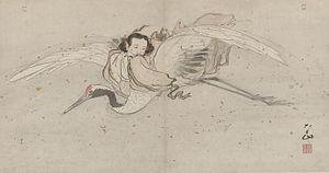 He Xian'gu - Zhang Lu's painting of He Xian'gu riding on a celestial crane, early 16th century