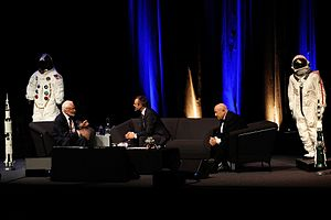 SwissTech Convention Center - Space pioneers Buzz Aldrin and Alexey Leonov at the Swiss Tech Convention Centre in 2015.