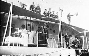 Yugoslav destroyer Dubrovnik - King Alexander on board Dubrovnik in October 1934 before his voyage to France.