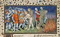 Alexander burns a wild man - La Vraye Histoire du Bon Roy Alixandre (early 15th C), f.64 - BL Royal MS 20 B XX.jpg