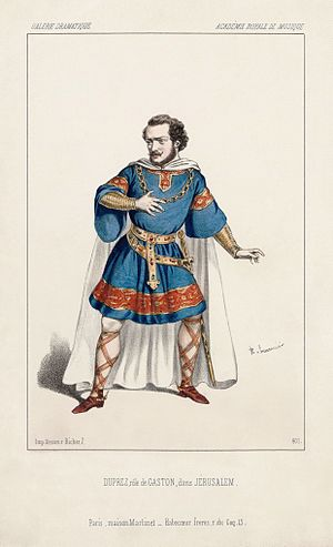 Gilbert Duprez - As Gaston in the première performance of Giuseppe Verdi's Jérusalem.