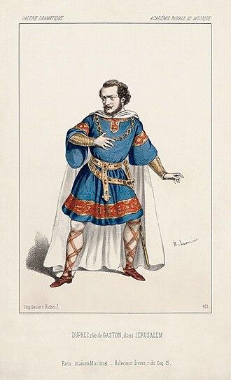 Gilbert Duprez - As Gaston in the première performance of Giuseppe Verdi's Jérusalem.