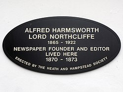 Alfred harmsworth lord northcliffe (hampstead)