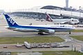 All Nippon Airways, NH978, Boeing 767-381(ER), JA612A, Arrived from Qingdao, Kansai Airport (17009658468).jpg