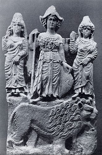 Manat (goddess) - 2nd century AD relief from Hatra depicting the goddess al-Lat flanked by two female figures, possibly al-Uzza and Manat