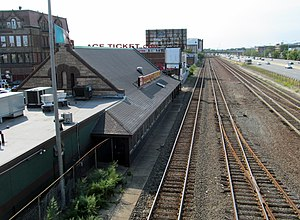 Boston Landing (MBTA station) - Allston depot, one of the station sites considered in the 2009 study, seen here in 2012