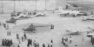 Egyptian Air Force - On display circa 1956, new aircraft purchased from Czechoslovakia and the USSR clockwise: MiG-17F, MiG-15bis, Il-28, Yak-11, Zlin 226, and two Mi-1 helicopters.