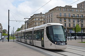 Le Havre tramway - Tram in the city centre of Le Havre