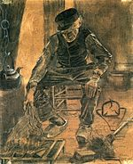An Old Man Putting Dry Rice on the Hearth 1881 Vincent van Gogh.jpg