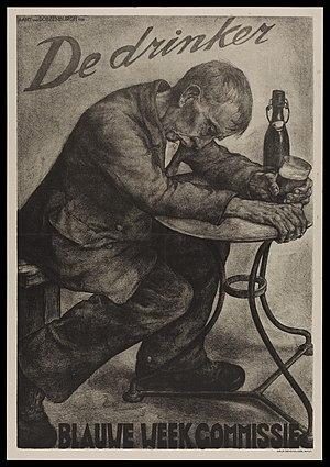 Aart van Dobbenburgh - Image: An intoxicated man drinking beer; advertising Blauwe Week Wellcome L0048989