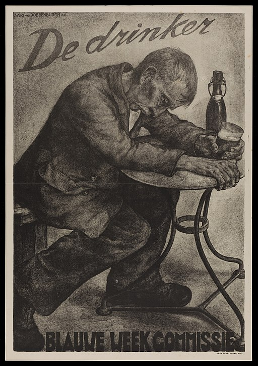 An intoxicated man drinking beer; advertising Blauwe Week Wellcome L0048989