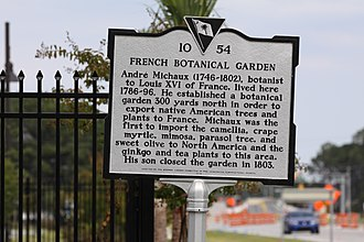 North Charleston, South Carolina - French Botanical Garden historical marker, located off Aviation Avenue