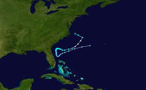 Subtropical Storm Andrea (2007) - Image: Andrea 2007 track