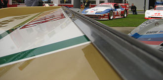 Gurney flap - A Gurney flap on the trailing edge of the rear wing of a Porsche 962