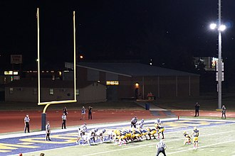 End zone - Goal post at one end of a college football field