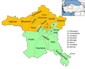Ankara (electoral districts) - Image: Ankara electoral districts 2015