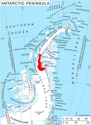 Bowman Coast - Location of Bowman Coast on the Antarctic Peninsula