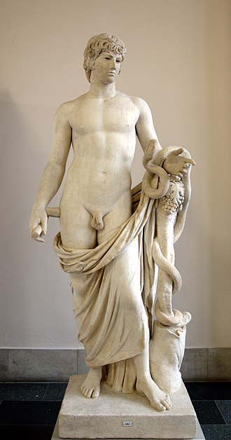 "Agathodaemon - A Roman marble sculpture of Agathodaemon restored with an unrelated head, as ""Antinous Agathodaemon"", purchased in Rome ca. 1760, (Staatliche Museen, Berlin)"