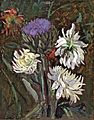 Antonio Sicurezza artichoke in bloom with chrysanthemums.jpg