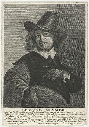 Leonaert Bramer - Leonaert Bramer in Het Gulden Cabinet, engraved by Antony van der Does