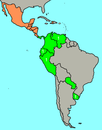 Light-green shows countries that have Apertura...