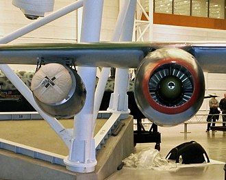 JATO - Starthilfe RATO (left) on the starboard wing of Arado Ar 234 B-2 at the Steven F. Udvar-Hazy Center in Virginia.