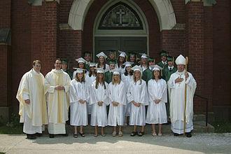 Shawe Memorial High School - Class of 2005 and Fr. John Meyer, Fr. C. Ryan McCarthy and Archbishop Daniel Buechline