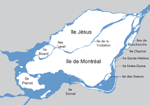 Île Jésus - The city of Laval covers all of Île Jésus