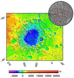 Argyre Planitia - Image: Argyre basin topo
