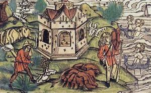 Bugonia - Aristeas and bugonia. Virgil's Georgics. Lyon. 1517
