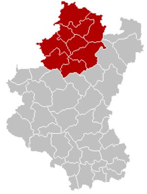 Arrondissement of Marche-en-Famenne - Image: Arrondissement Marche en Famenne Belgium Map