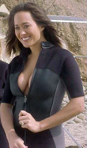 Asia Carrera - Carrera on a film set in 2002