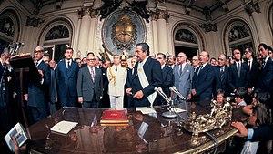 Raúl Alfonsín - Raúl Alfonsín's presidential inauguration, 1983