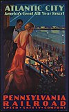 Boardwalk at night, travel poster