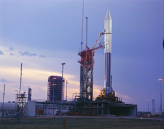 Atlas Centaur 27 with Pioneer 10 on launch pad.jpg