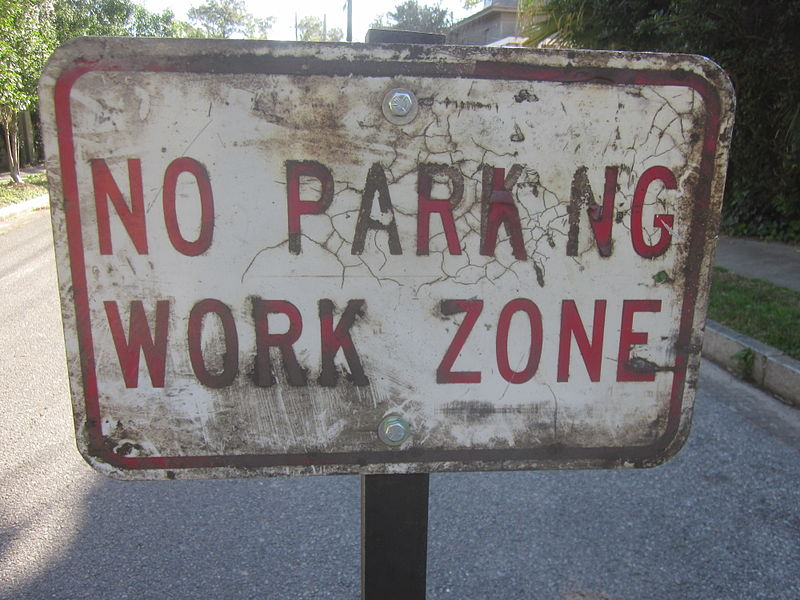 File:Audubon No Parking Work Zone Sign.JPG