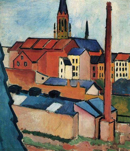 August Macke Kościół Mariacki w Bonn z domami i kominem, 1911