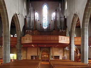 Augustinerkirche Zürich - interior view towards the gallery and the pipe organ, and the western main portal.