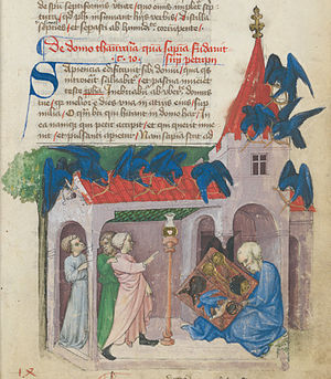 "Aurora consurgens - Sage with a tablet within a church-like building (1420/30), the ""house of wisdom"", depicted in Aurora Consurgens (Codex Rhenoviensis 172, Rheinau, fol. 7r)."