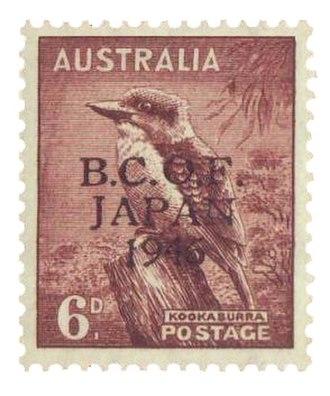 Kookaburra - B.C.O.F. kookaburra stamp first issued in 1946.